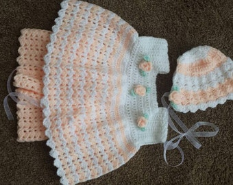 Pretty Baby Girl's Matching Shorts, Top, and Bonnet Hand Crocheted Custom Size and Colors Sizes 0-6 or 6-12 Months