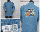 1990s Vintage Disney Store Denim Blue Jean Shirt Size LARGE Mickey, Minnie, Daffy and Friends Embroidered Long Sleeve
