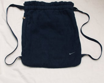 Vintage Nike Navy Blue Small Gym Bag Backpack Style Drawstrings 1990s Swoosh  Logo Unisex Men s Women s 656a642b1e8f9