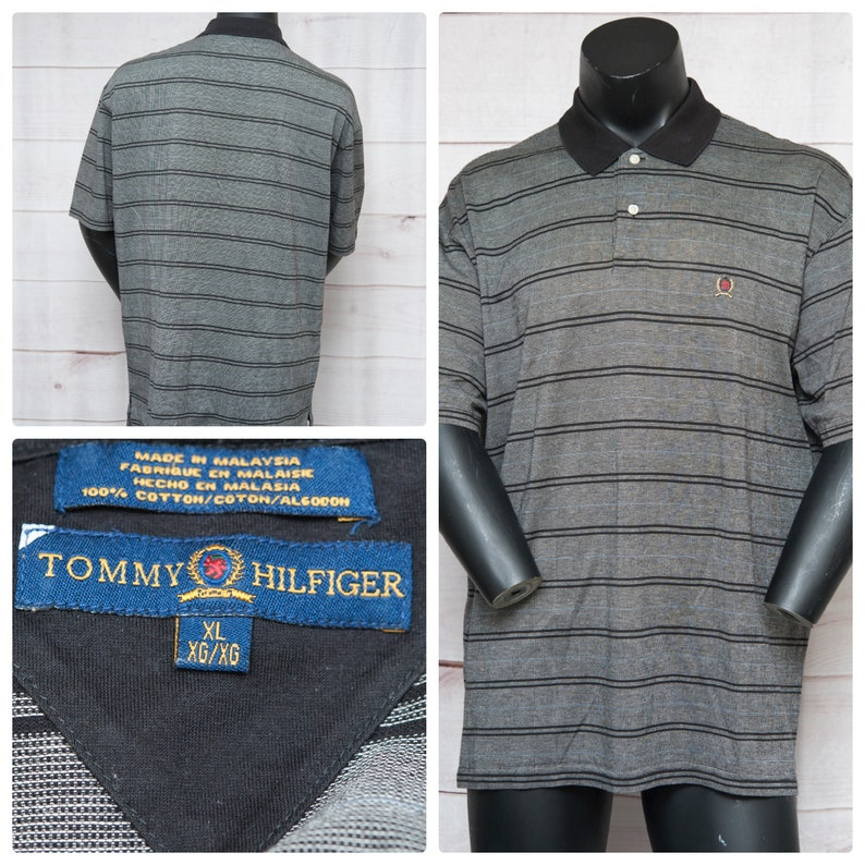 5fe128c29 Vintage Tommy Hilfiger Black Gray Striped Polo Shirt Lion | Etsy