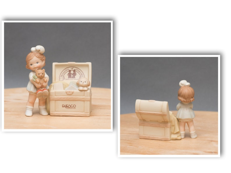 1998 The Enesco Memories of Yesterday Girl With Toy Chest Figurine Designed by Mabel Lucie Atwell and Ships With Box