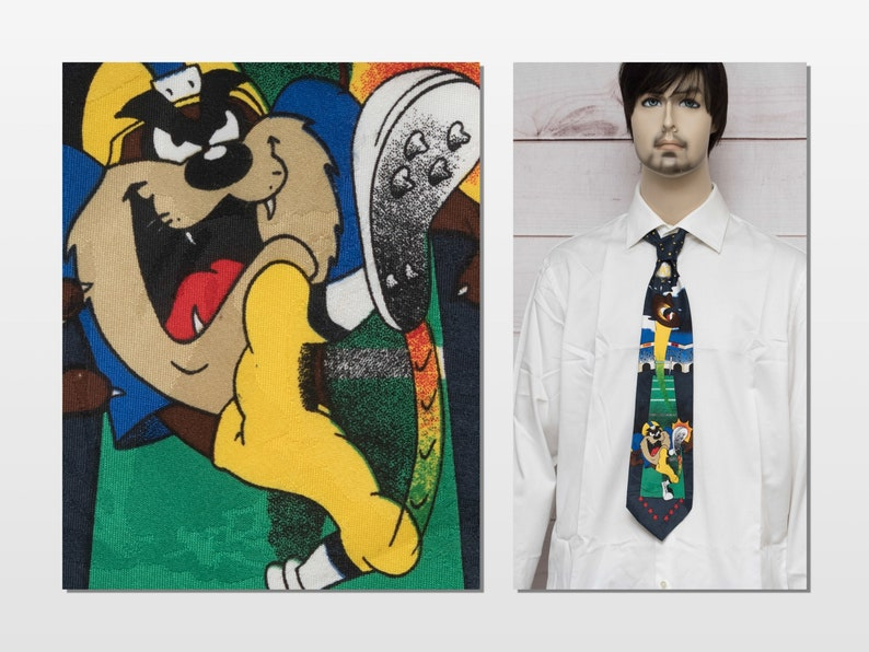 Looney Tunes Tasmanian Devil Punting Football Vintage 1990s Yellow Navy American Football Themed Necktie Made in the USA