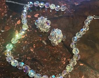 Jewelry Vintage Amethyst Crystal Aurora Borealis /& Lucite Wrap Bead Bracelet Jewellery