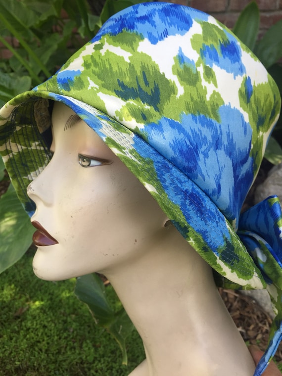 dd1a7d9e338 Vintage bucket hat with bow blue floral Hawaiian print hat for