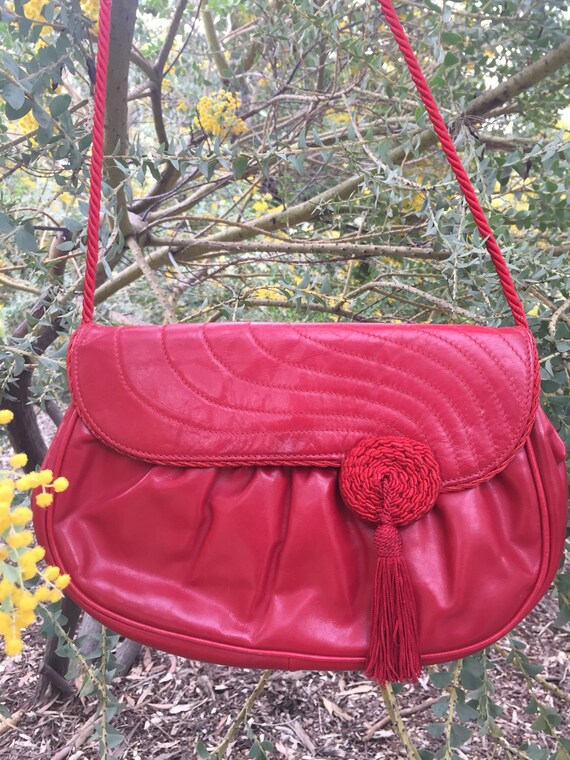 Red leather handbag 1970's made in Italy by Barbar