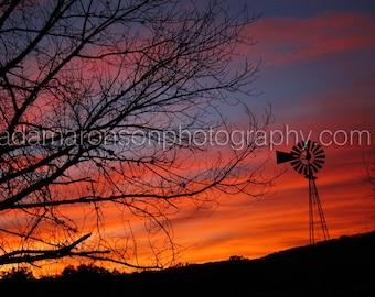 Photograph of windmill sunset