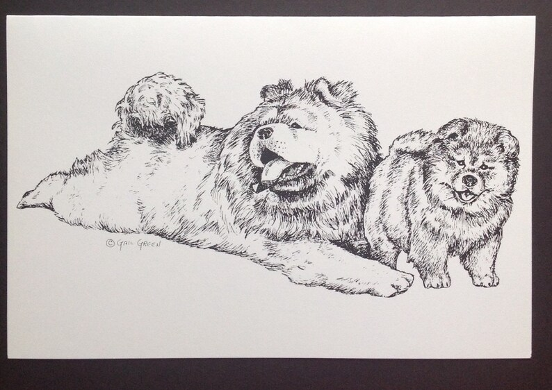 Chow Chow /& Pup Art Print SHIPS FREE! Note Card