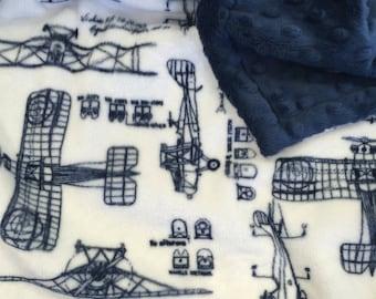 Baby Boy Blanket. Vintage Airplanes Minky Stroller Blanket Airplane Crib Blanket Baby Boy Shower Gift