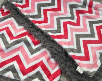 Chevron Minky Baby Girl Blanket, Minky Stroller Blanket, Coral Gray and White, Chevron Crib Bedding, Baby Girl Shower Gift