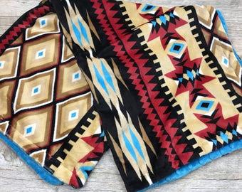 Aztec Minky Baby Blanket. Minky Stroller Blanket. Gender Neutral Baby Blanket Tribal Aztec Blanket Baby Shower Gift. Southwest Blanket