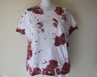 Women's Bloody Distressed Blood Splatter T-Shirt Zombie Apocalypse Cosplay Costume T-Shirt Wasteland Apocalyptic Short Sleeves Women's 2XL