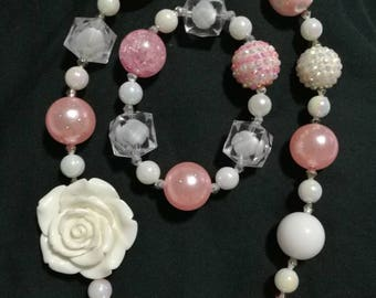 Fast Shipping! Chunky. Bead. Necklace. Bracelet. Set. Easter. Birthday. Dance. Jewelry. Kids. Beautiful. Pink. White. Crystal. Unicorn.