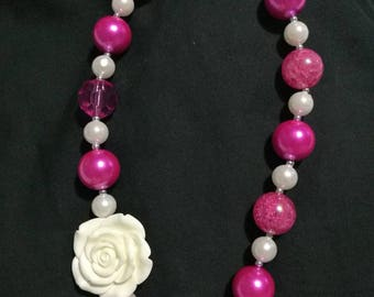 Fast Shipping! Chunky. Bead. Necklace. Easter. Birthday. Dance. Jewelry. Kids. Beautiful. Pink. White. Crystal. Unicorn. Wedding.