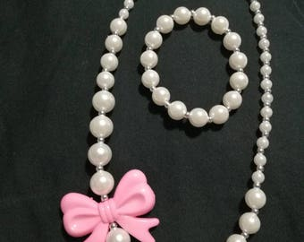 Fast Shipping! Chunky. Bead. Necklace. Bracelet. Set. Easter. Birthday. Dance. Jewelry. Kids. Beautiful. Pink. White. Bow. Unicorn.