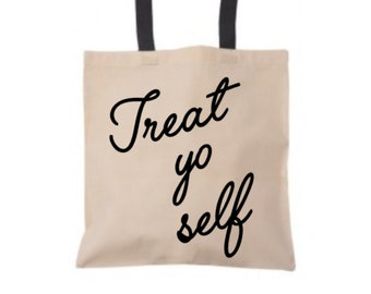 Treat Yo Self Tote Bag, Funny Tote Bag, Trick or Treat Bag, Treat Yo Self Bag, Funny Gift, Birthday Gift Bag, Halloween Tote Bag, Canvas Bag