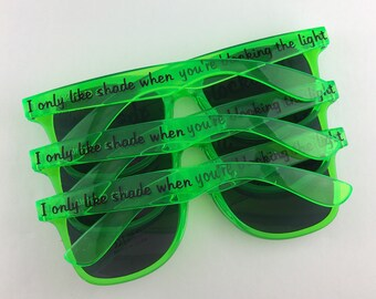 Transparent Personalized Sunglasses, Party Sunglasses, Bachelorette Party Favors, Custom Sunglasses, Wedding Favors, Destination Wedding