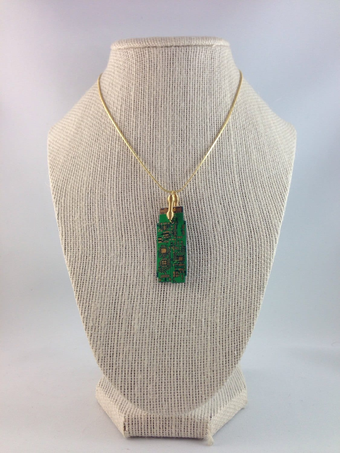 Green Gold Circuit Board Pendant With Plated Chain Techie Necklace Gallery Photo