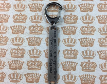 "Motivational Keychain - ""Reality has limits, imagination is boundless"" - Encouraging Quote Key Ring"