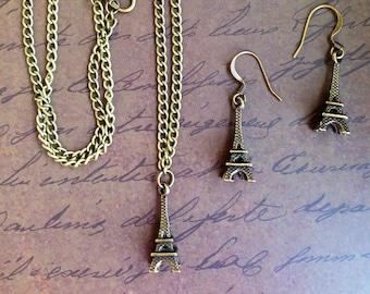 Eiffel Tower Pendant and Earrings Jewelry Set