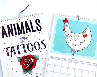 2021 Animals with Tattoos Hanging Wall Calendar, Fun Illustrated Calendar, Free Shipping