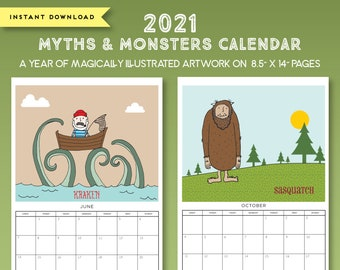 2021 Printable Illustrated Myths and Monsters Grid Calendar, Digital Instant Download, Illustrated 8.5x14 Wall Calendar