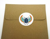 Blue Egyptian Scarab, 24 Pack of Circle Stickers FREE SHIPPING