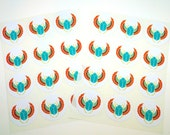 Egyptian Scarab Teal , 24 Pack of Circle Stickers FREE SHIPPING