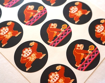 Arcade Game Retro Donkey Kong Stickers: Set of 24 Stickers - Free Shipping