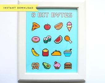 8 Bit Bytes Nerdy Fun Food Art Print 8x10, INSTANT DOWNLOAD, Digital Print, Digital Download, Printable Art