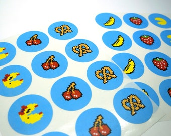 Mr and Ms Retro Arcade with Fruit Sticker - 24 Sticker Pack