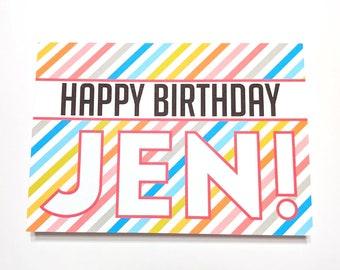 Personalized Rainbow Birthday Card