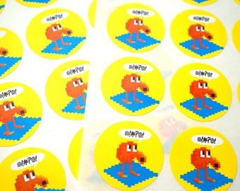 Q*bert Arcade Game Stickers: Set of 24 Stickers - Free Shipping