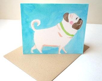 Watercolor Pug Greeting Card
