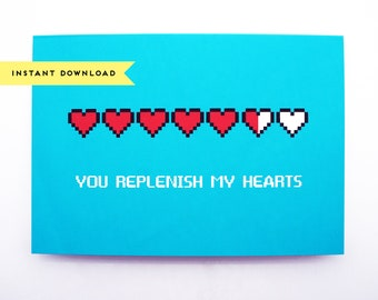 You Replenish My Hearts Love Greeting Card : Instant Download, Printable Card, Digital Download
