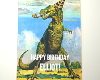 Personalized T-Rex Dinosaur Birthday Greeting Card : FREE SHIPPING