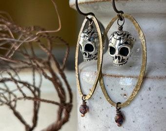 Earrings - Skeletons, Halloween, skull, Hammered natural brass, niobium wire, lead & nickel free, hypoallergenic, glass bead, unique earring