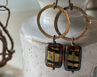 Earrings - Hammered natural brass, niobium wire, lead & nickel free, hypoallergenic, Czech glass beads, unique earrings