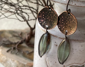 Earrings - Textured antiqued Copper circle, green/clear Czech glass bead, niobium wire, lead & nickel free, hypoallergenic, unique earrings