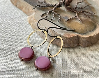 Earrings - Hammered natural brass, niobium wire, lead & nickel free, hypoallergenic, glass beads, unique earrings