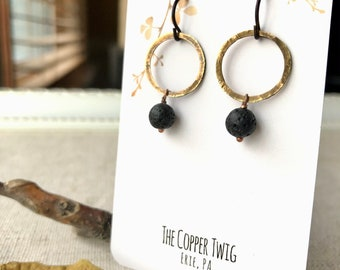 hypoallergenic lead /& nickel free niobium wire Earrings unique earrings Hammered copper discs
