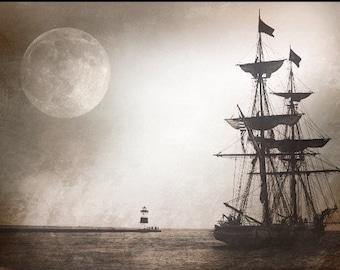Landscape - U.S. Brig Niagara, ship, North Pier Lighthouse, sepia tone, Metallic, water, moon, Erie PA, Photo