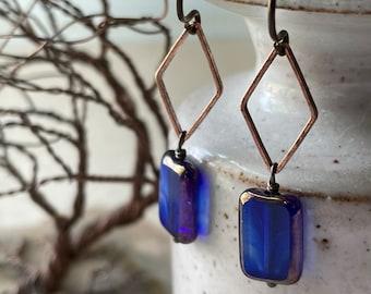 Earrings - Hammered copper diamond, Cobalt blue bronzed edge Picasso Czech glass bead, niobium ear wire, lead & nickel free, hypoallergenic