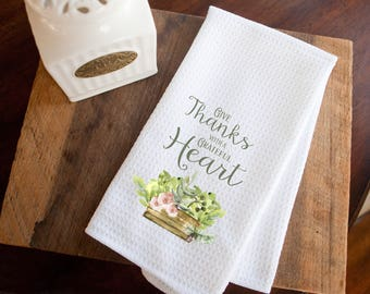 Kitchen towel, hostess gifts, teacher gifts, Thanksgiving, Give thanks, sublimated ink, waffle weave, hand towel