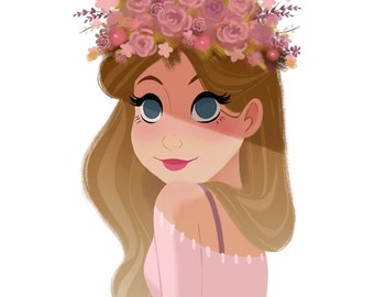 Flower, Headdress, Girl, Pink, Pastel, Art Print