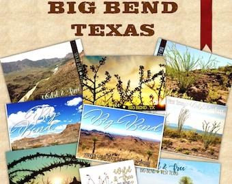 Set of 9 Big Bend Texas Travel Postcards - Handmade Made to Order - Chihuahuan Desert, Custom Gift Set - Souvenir USA, Choose 4x6 or 5x7