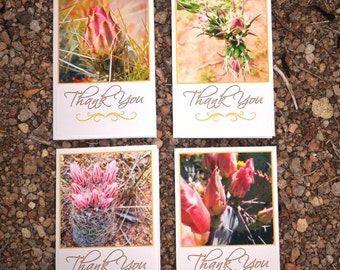 Thank You Cards Gift Set - (4) Handmade Desert Cactus Blooms Nature Cards with Envelopes & Stickers - Choose from 4 x 6 or 5 x 7