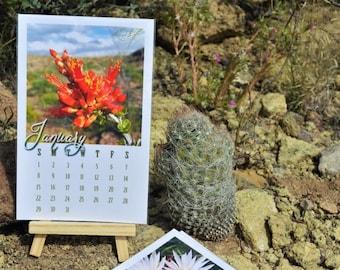 Handmade Photo Desk Calendar 2018, Cactus Wild Blooms with wood stand, Monthly Calendar, Desert Big Bend Texas