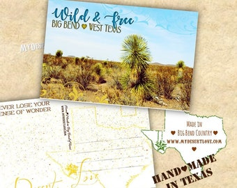 Wild and Free Desert Landscape Handmade Postcard - Yucca - Custom Made To Order in Big Bend Texas - Nature Card - Choose 4x6 or 5x7