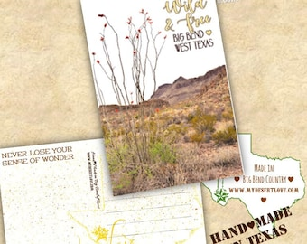 Wild and Free Desert Landscape Handmade Postcard - Ocotillo - Custom Made To Order in Big Bend Texas - Nature Card - Choose 4x6 or 5x7