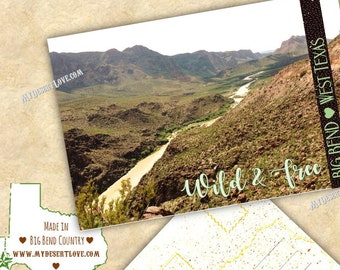 Big Bend West Texas Handmade Postcard - Rio Grande River - Desert Landscape Custom Made To Order in Texas - Nature Card - Choose 4x6 or 5x7